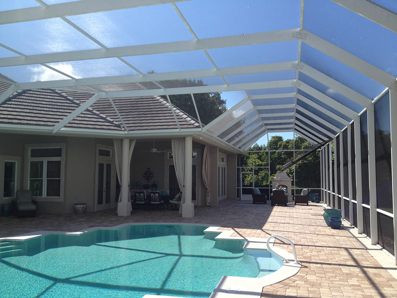 Mansard style pool enclosure by East Coast Aluminum ... & Pool Enclosure Gallery - Ormond Beach Daytona Beach Palm Coast ...